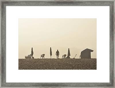 Misty Beach Framed Print