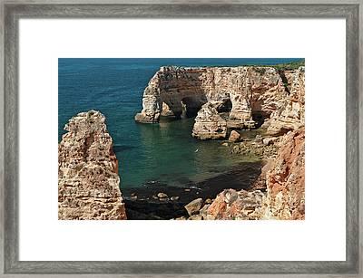 Praia Da Marinha Cliffs And Sea Framed Print
