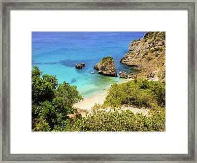 Praia Da Ribeira Do Cavalo In Sesimbra, Portugal Framed Print