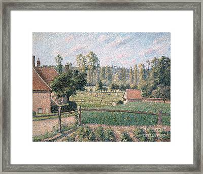 Prairie At Eragny, 1889 Framed Print by Camille Pissarro