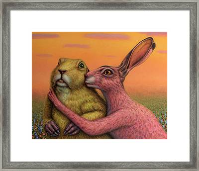 Prairie Dog And Rabbit Couple Framed Print by James W Johnson