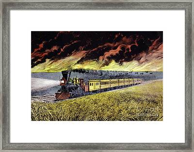 Prairie Fires Of The Great West Framed Print by Currier and Ives