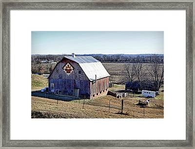 Framed Print featuring the photograph Prairie Flower Quilt Barn by Cricket Hackmann