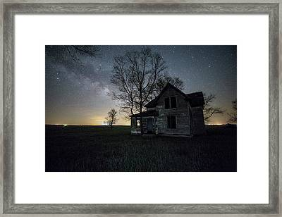 Framed Print featuring the photograph Prairie Gold And Milky Way by Aaron J Groen