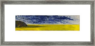 Prairie Grouper Panorama Framed Print by Martin Tielli