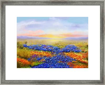 Framed Print featuring the painting Prairie In Bloom by Sena Wilson