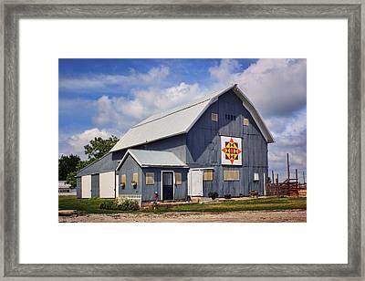 Prairie Sunrise - Quilt Barn - Nebraska Framed Print by Nikolyn McDonald