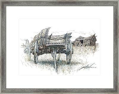 Prairie Wagon And Barn Ready To Fall Framed Print by Larry Prestwich