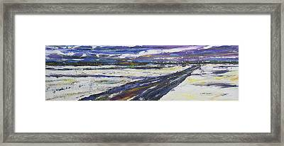 Framed Print featuring the painting Prairie Winter Road by Debora Cardaci