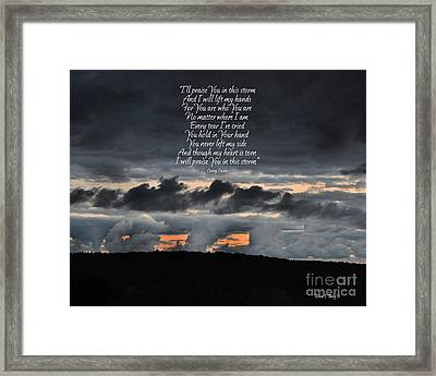 Praise You In The Storm Framed Print by Diane E Berry