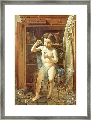 Framed Print featuring the painting Pranks Of Love by Manuel Ocaranza