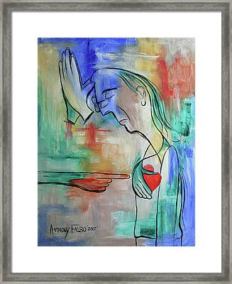 Pray For Me From The Heart Framed Print by Anthony Falbo