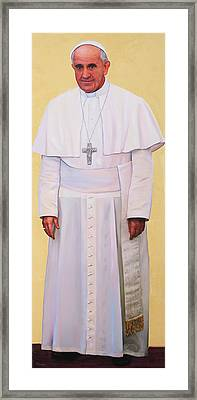 Pray For Me Portrait Of Pope Francis Framed Print by Richard Barone