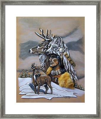 Pray For The Deer. Framed Print by Lilly King