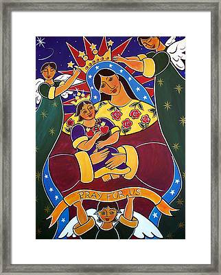 Framed Print featuring the painting Pray For Us by Jan Oliver-Schultz