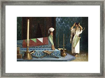 Prayer At The Sultan's Room  The Grief Of Akubar  Framed Print by Jean Leon Gerome