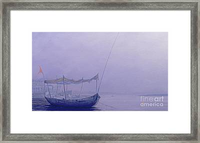 Prayer Candles On The Ganges Framed Print by Derek Hare