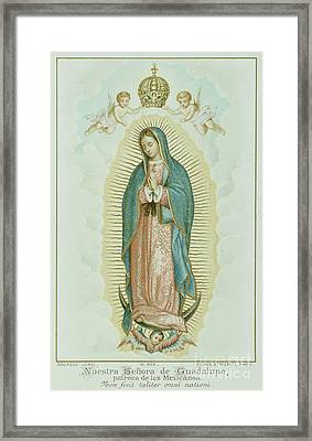 Prayer Card Depicting Our Lady Of Guadalupe Framed Print by French School