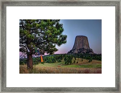 Framed Print featuring the photograph Prayer Flags At Devils Tower by Thomas Gaitley