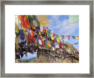 Prayer Flags In Happy Valley Framed Print