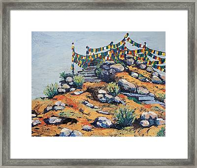 Prayer Flags In The Mist Framed Print