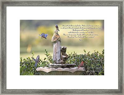 Prayer For The Animals That Bless Our Lives Framed Print