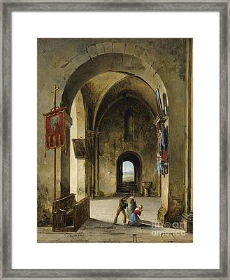 Prayer In The Church Framed Print by Celestial Images
