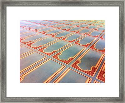 Prayer Mats Printed On Mosque Carpet Framed Print by Jill Tindall