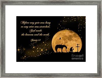 Prayer Of A Cowboy Framed Print by Bonnie Barry