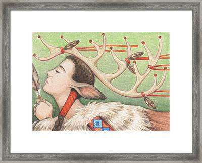 Prayer Of Elk Woman Framed Print by Amy S Turner