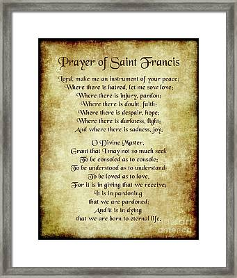 Prayer Of St Francis - Antique Parchment Framed Print by Ginny Gaura