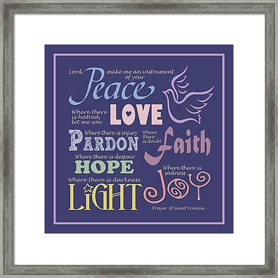 Prayer Of St Francis - Square Pastel Typographic Framed Print