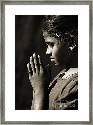 Prayers Of A Child Framed Print by Tim Gainey