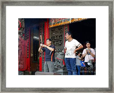 Framed Print featuring the photograph Praying At A Temple In Taiwan by Yali Shi