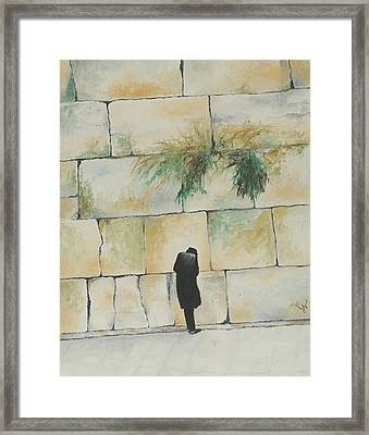 Praying At The Western Wall Framed Print