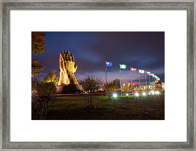 Praying Hands Of Oru - Tulsa Oklahoma Framed Print by Gregory Ballos