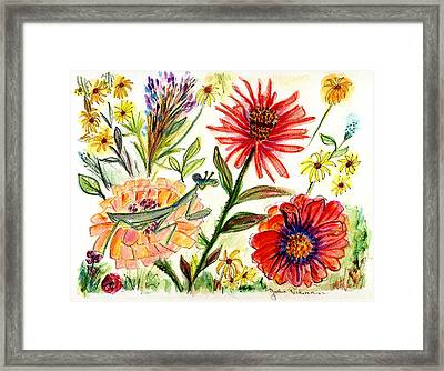 Praying Mantis Flowers54 Framed Print by Julie Richman