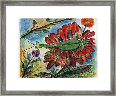 Praying Mantis Welcome - Closeup Framed Print by Julie Richman