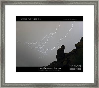 Praying Monk Lightning Striking Poster Print Framed Print
