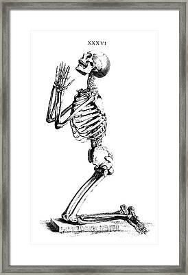 Praying Skeleton Framed Print
