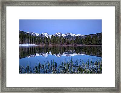 Pre Dawn Image Of The Continental Divide And A Sprague Lake Refl Framed Print by Ronda Kimbrow
