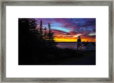 Pre Dawn Light At West Quoddy Head Lighthouse Framed Print