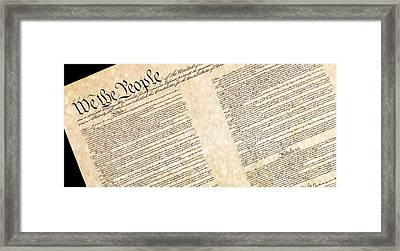 Preamble Of The Constitution Of The United States Framed Print by Jack R Perry
