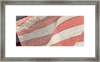 Preamble Of The Constitution Of The United States With Us Flag Framed Print by Jack R Perry