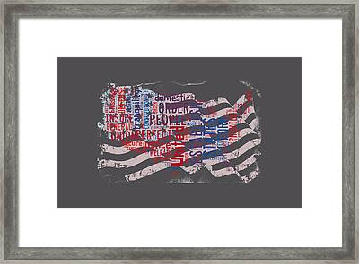 Preamble To The Constitution On Us Map Framed Print
