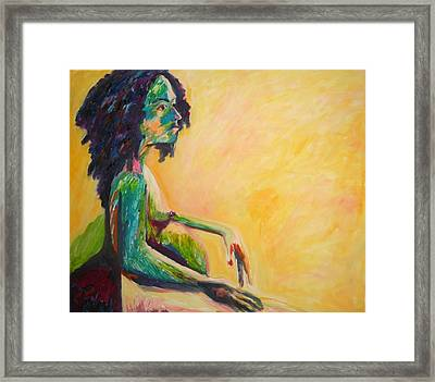 Framed Print featuring the painting Pregnant Woman In Yellow by Esther Newman-Cohen