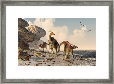 Prehistoric Beachcombers Framed Print by Daniel Eskridge
