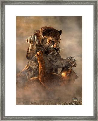 Prehistoric Cat Fight Framed Print by Daniel Eskridge