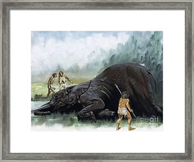 Prehistoric Hunters Framed Print