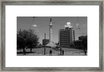 Prelude Of A Demonstration At The General Robert E. Lee Mounment In New Orleans, Louisiana Framed Print